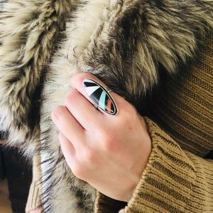 ♥️ Vintage ♥️ Turquoise Inlay Silver Ring